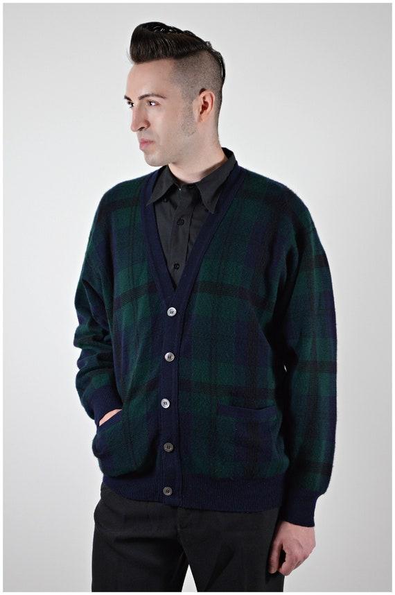 Mens Cashmere Cardigan, Plaid Sweater, Paul Stuart