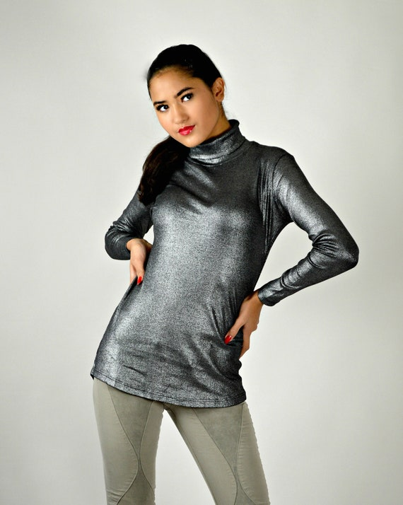90s Sweater, Metallic Silver Top, Holiday Turtlene