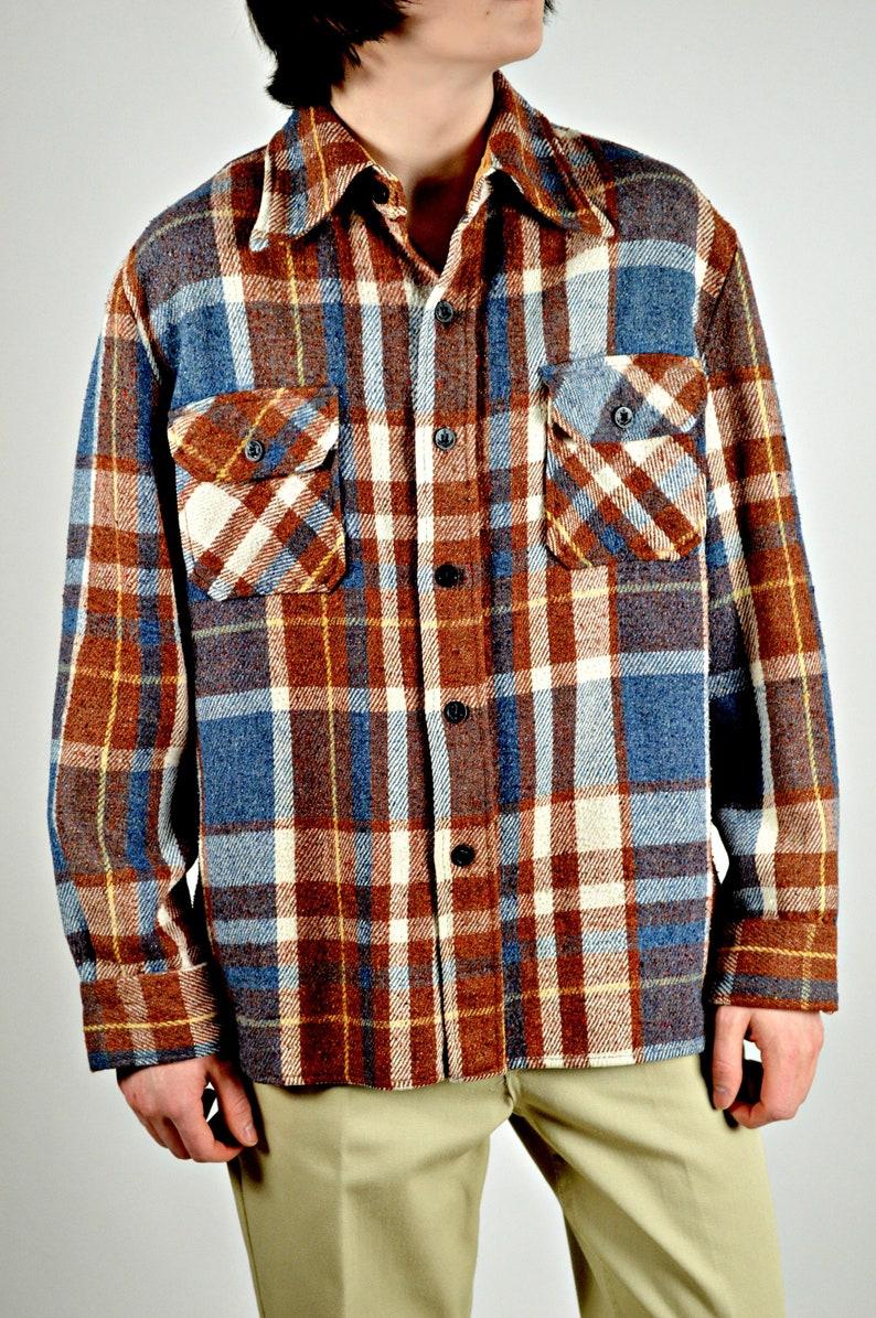 Vintage Mens Plaid Jacket Brown Blue 1960s Mens Jacket Etsy