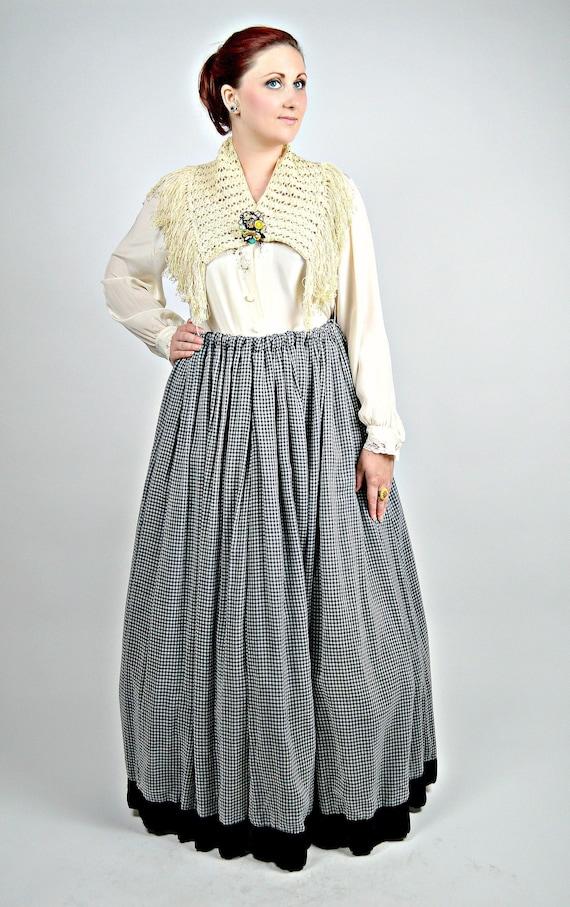 Antique Victorian Skirt, 1900s Gingham Petticoat,