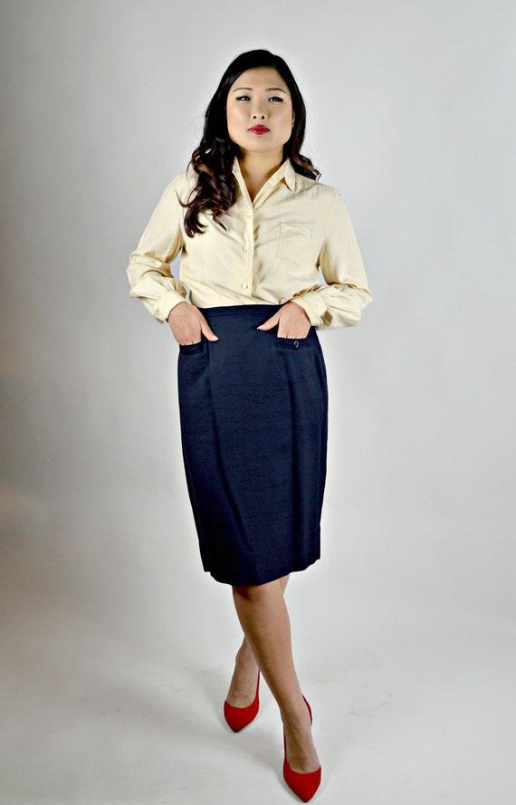da86b15d39 1950s Skirt Navy Blue Shantung Silk Knee Length 50s Womens | Etsy