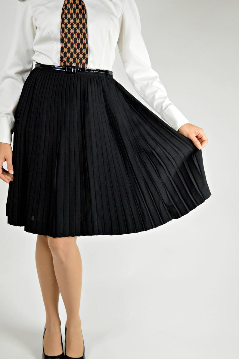 005109747b Black Pleated Skirt Accordion Pleated Skirt Carol Brent | Etsy