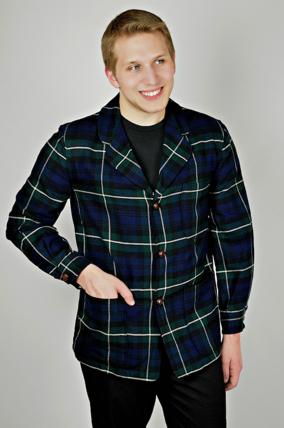 Mens 50s Plaid Jacket, Blue Check, Wool Outerwear,