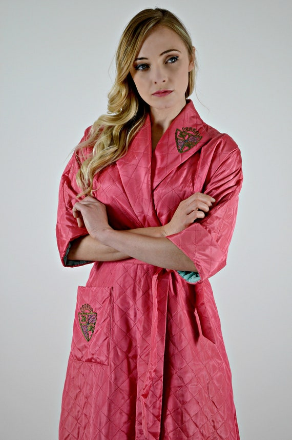 Vintage 1950s Robe Small, 50's Pink Housecoat, Ray