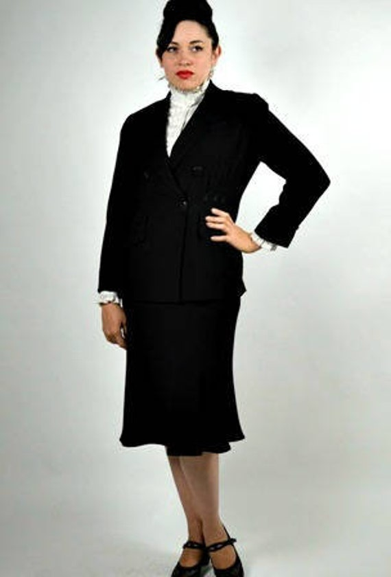 Designer Zelda Suit Black Suit Size Office Womens Black 80s Suit