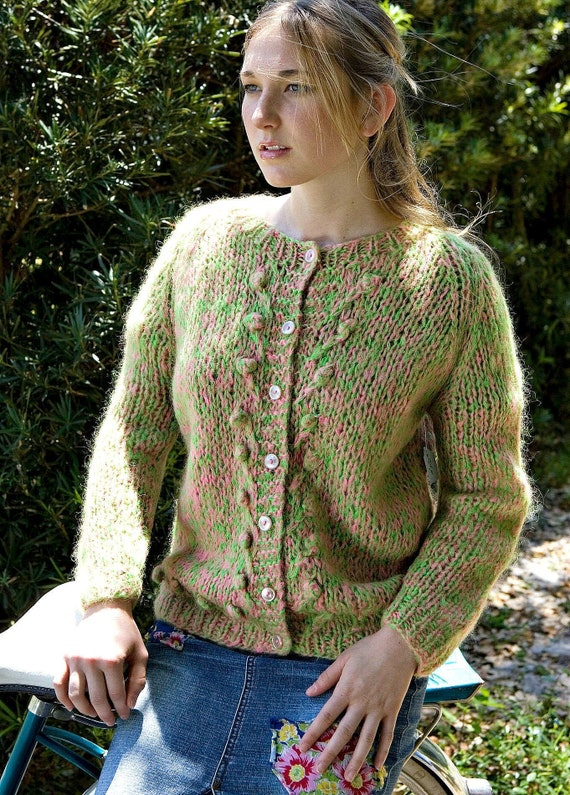 Vintage Pink & Green Cardigan Sweater Size Medium… - image 2