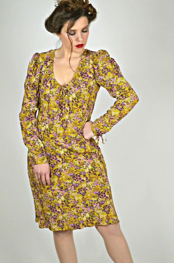 90s Floral Dress, Boho Victorian Style, ABS Deadst