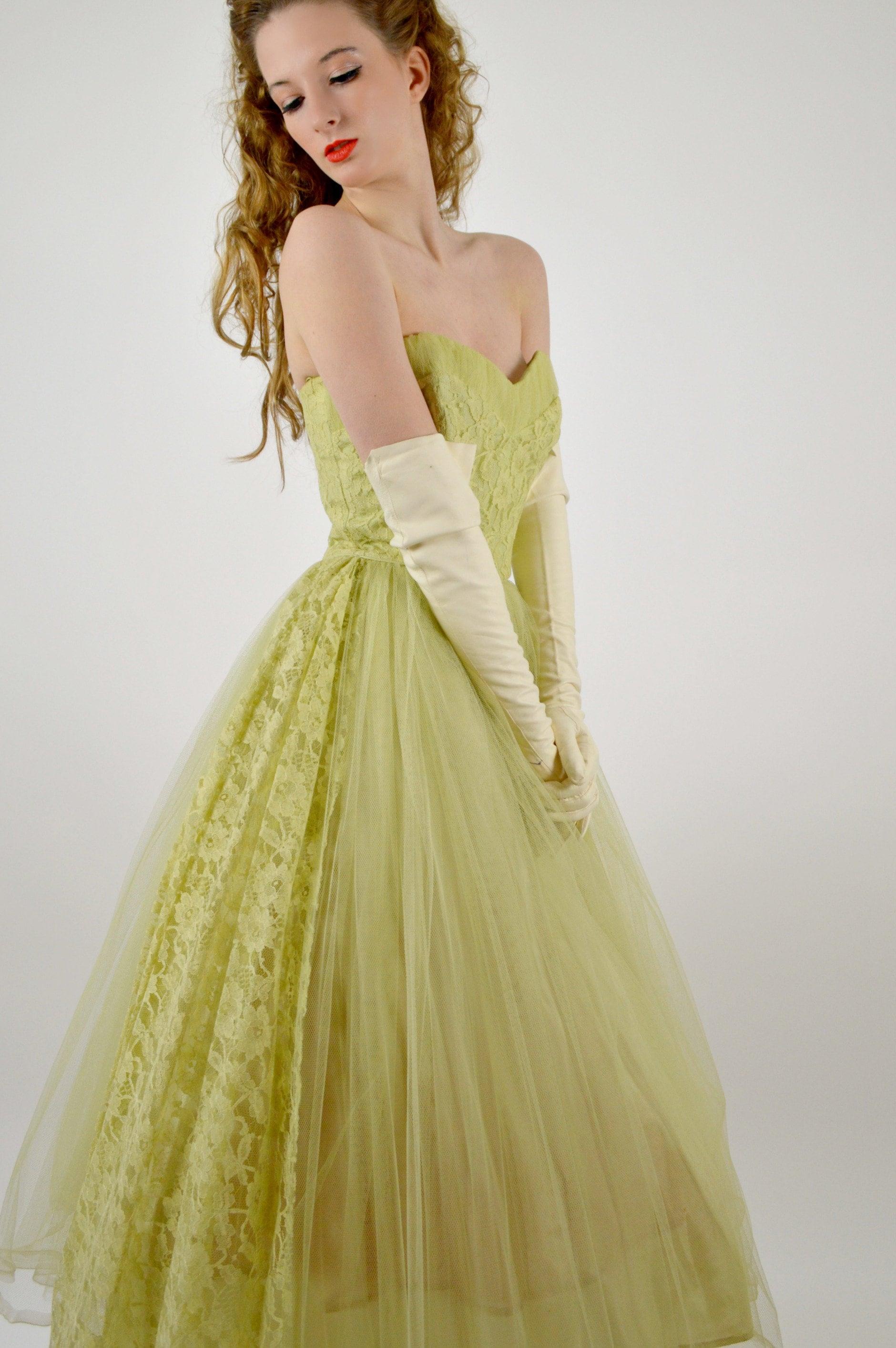 c2908b3ea21a 1950s Prom Dress Cupcake Dress Green Tulle 50s Prom Dress | Etsy