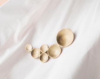 Modern Statement Jewelry, Brass Brooch, Handmade Shawl pin, Geometric Gold Brooch Pin