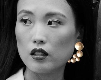 Statement earrings, Asymmetrical earrings, Brass earrings, Sculptural cool earrings Big earrings Contemporary jewelry Edgy Abstract earrings