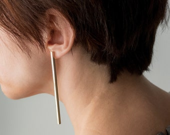 Extra long statement earrings, Gold bar earrings, Brass earrings, Large statement earrings, Unusual Geometric earrings, Long bar earrings