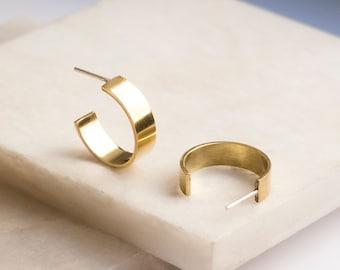 Modern Brass Hoop Earrings, Thick Circle Stud Earrings, Gold Statement jewelry for women