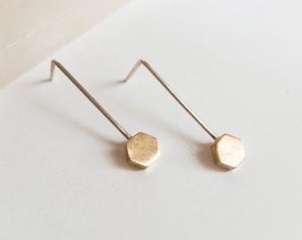 Small hexagon brass dangle earrings, Tiny threader earrings, Delicate edgy earrings, Minimalist geometric jewelry, Golden dainty earrings