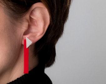 Red Long 80s Style Earrings, Colorful earrings for women, Modern Minimalist Stud Earrings