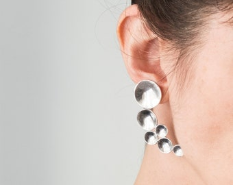 Sterling Silver asymmetric sculptural earrings, Large abstract studs, Statement contemporary jewelry, Unusual organic jewel, Trendy modern