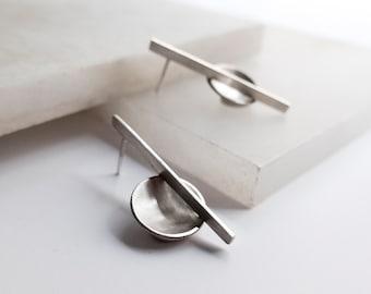 Asymmetric earrings, Silver earrings, Unusual earrings, Bauhaus Sculptural stud earrings, Architecture jewelry, Cool Abstract earrings