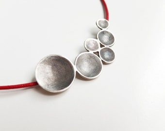 Unusual Necklace for Women, Contemporary Jewelry, Statement Silver Necklace, Handmade Abstract  Pendant