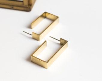 Minimalist Chunky Brass Hoop Earrings, Brass Statement Jewelry, Thick Earlobe Studs