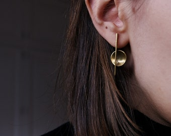 Asymmetrical Brass Earrings, Bauhaus Architecture Jewelry, Hipster Cool Modern Unusual Abstract Minimalist Earrings