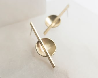 Bauhaus gold brass earrings, Minimalist earrings, Architectural gift for her, Cool jewelry, Geometric earrings, Abstract sculptural earrings