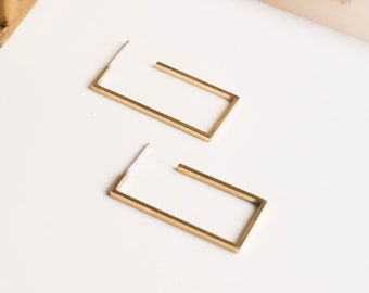 Modern cool hoop earrings,  Minimalist rectangular hoops, Thin geometric brass studs, Edgy jewelry for her