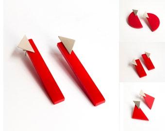 Long Statement Geometric Bar Earrings, Architectural Contemporary Bauhaus Minimalist Jewelry, Unusual Sculptural Earrings