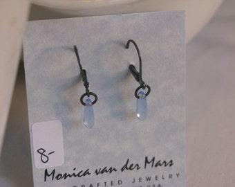 Light blue Glass Earring on leverback earwires.