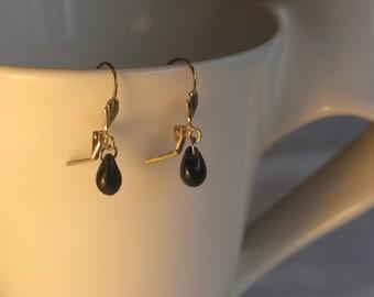 Small Black Glass Drop Earring on leverback earwires.