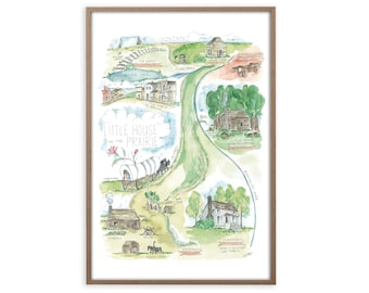 Laura Ingalls Little House on the Prairie Watercolor Map Art Print