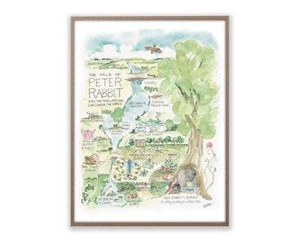 Peter Rabbit Watercolor Map Art Print Easter