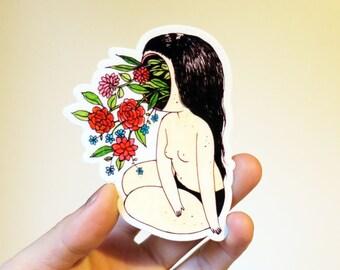 Flower Face Sticker - vinyl botanical woman