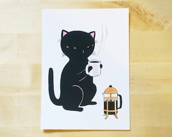 Postcard - Coffee Cat - Mini print - 5x7