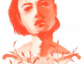Seedling - Original ink painting - sumi ink on white paper