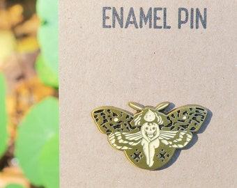 Deaths Head Hawk Moth Girl enamel pin