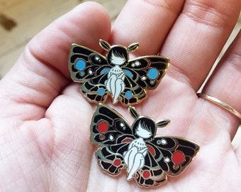 Moth Girl enamel pin - blue or red