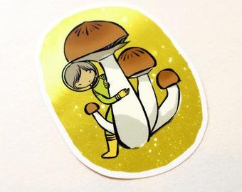 Vinyl Sticker - little Mushroom explorer