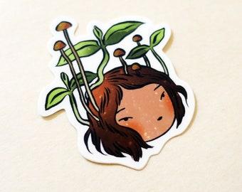 Vinyl Sticker - Sprout - little seedling girl