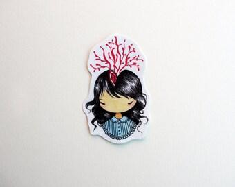 Little Headache Sticker - Hand cut girl drawing