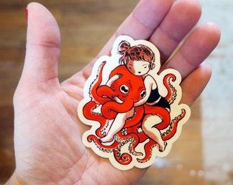 Vinyl Sticker - Octopus Hug
