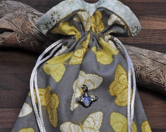 Small butterfly tarot card bag, jewelry storage, treasure pouch