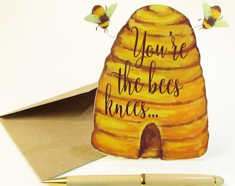 Honey Bee Card, You're The Bees Knees, Greeting Card, Happy Bee Day, Bumble Bees, Nature Card, Gardeners Card, Beekeeping Gift, Bee Hive