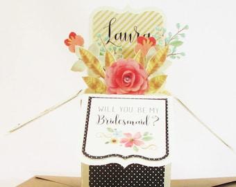 Will You Be My Bridesmaid Card, Bridesmaid Proposal, Flower Girl Proposal, Will You Be My Maid of Honor Card, Pop Up Cards, 3D Box Card