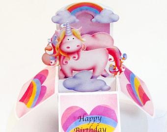 Magical Unicorn Birthday Pop Up Card, Unicorn Party Invitation, Unicorn 1st Birthday, 3D Pop Up Card in Box, 1st Birthday Gift Card Holder