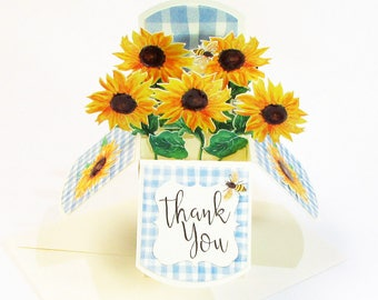 Thank You Card, Pop Up Card, Business Card Holder, Sunflower Gift, 3D Cards, Handmade Cards, Personalized Cards, Gift Card Holder