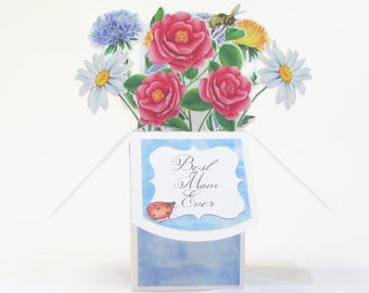 Mothers Day Card Pop Up, Personalized Card for Mom, Floral Mothers Day Card, Paper Flower Bouquet, Pop Up Cards Mothers Day, Eco Friendly
