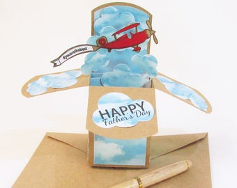 Airplane Birthday Card, Pop Up Cards, Vintage Airplane, Fathers Day Card, Airplane Decor Birthday, Airplane Banner, Airplane Birthday Party