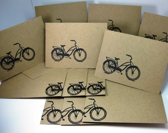Bicycle Thank You Cards, Eco-Friendly Bike Cards, Hand Stamped Cards, Kraft Bicycle Cards, Cycling Gift, Thank You Cards, Bicycle Bike Art