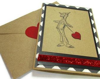Wizard of Oz Tin Man Handmade Card, Valentines Day Card, 10th Anniversary Cards, I Love You, Heart Transplant Card, Boyfriend, Husband Gift
