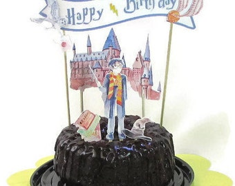 Harry Potter Birthday Cake Topper, Harry Potter Wedding, Harry Potter Baby, Wizard Party Decor, Book Lover Cake Topper