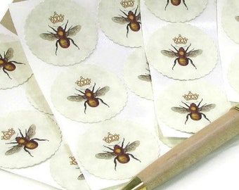 Queen Bee Stickers, Bee Keeping Labels, Honey Bee Logo, Manchester Bee, Envelope Seals, Eco Friendly, Queen Bee Designs, French Country Bee